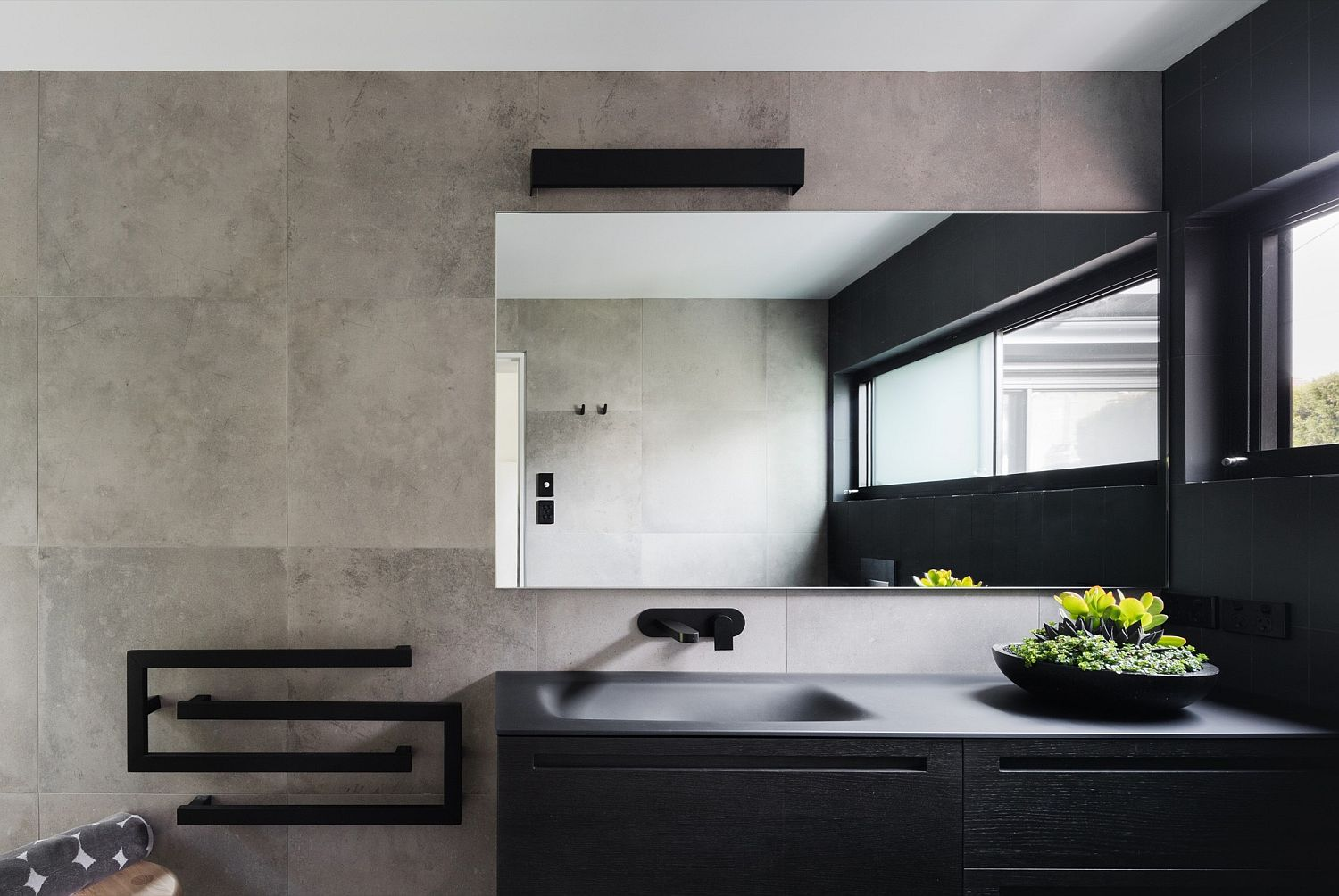 Minimal contemporary bathroom in gray