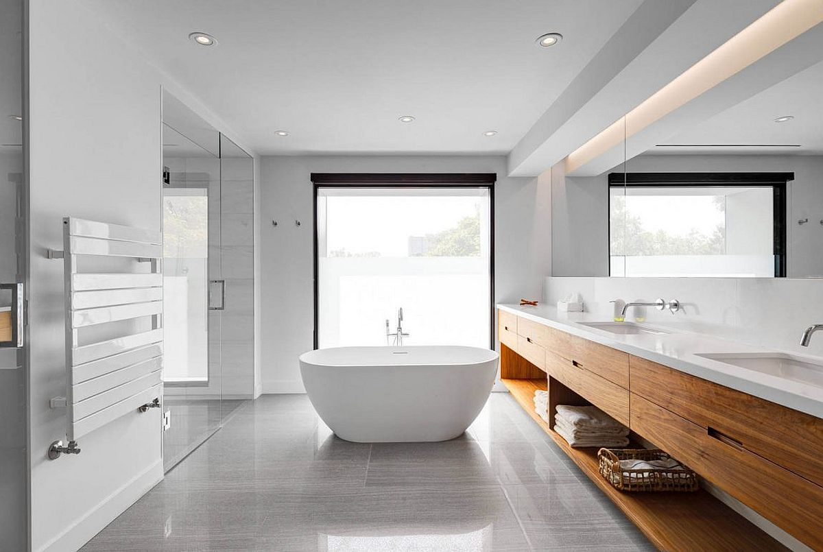 Modern bathroom in gray and white with wooden vanity