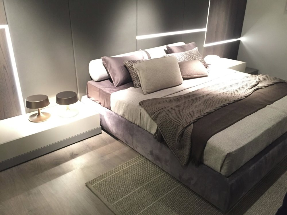 Modern bedroom with shades of beige and taupe