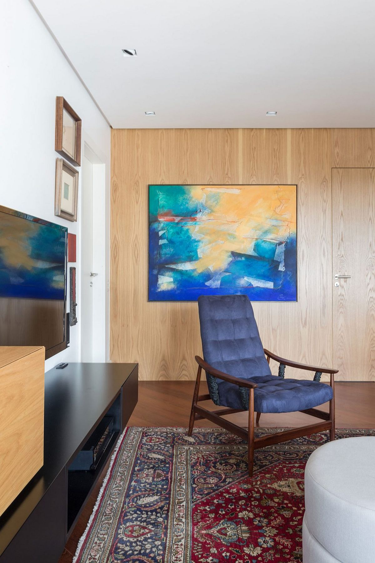 Modern wall art adds color to the interior