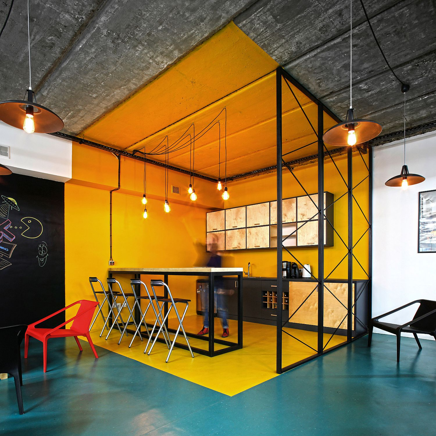 Office kitchen in bright yellow with industrial style