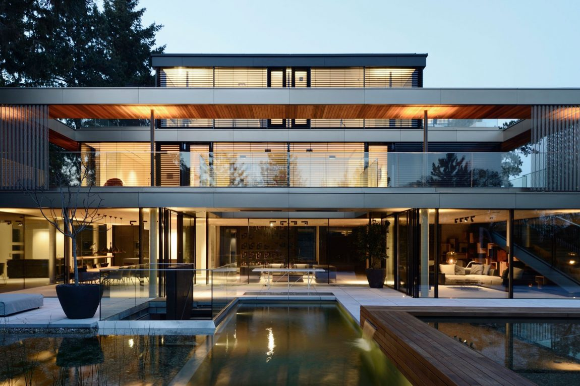 Pool and deck of modern home in VIenna