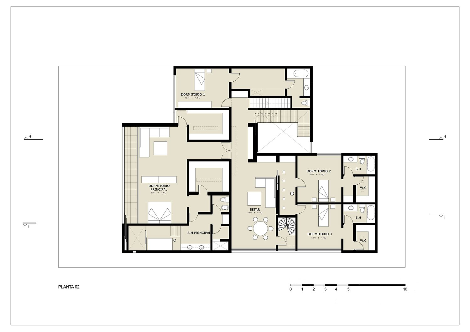 Private level floor plan of House M in Lima