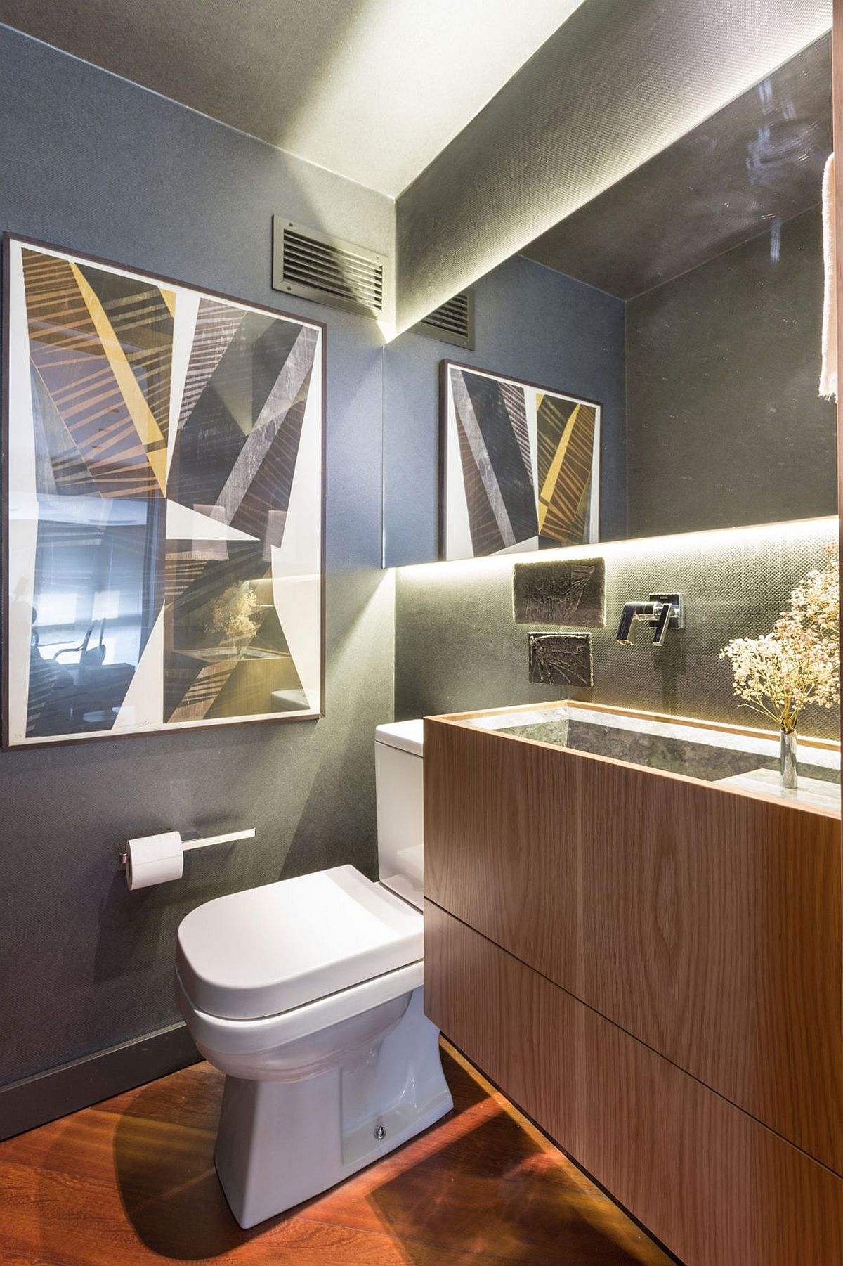 Small modern bathroom with floating wooden vanity