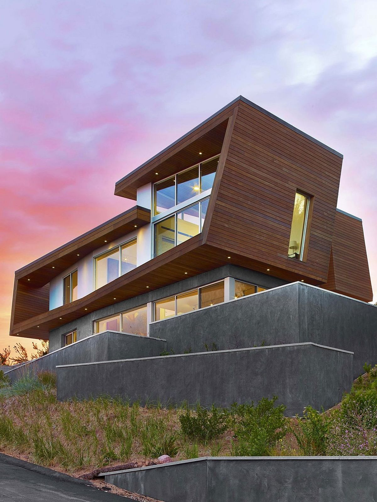 Smart wood and concrete facade of the beach house in Cape Cod