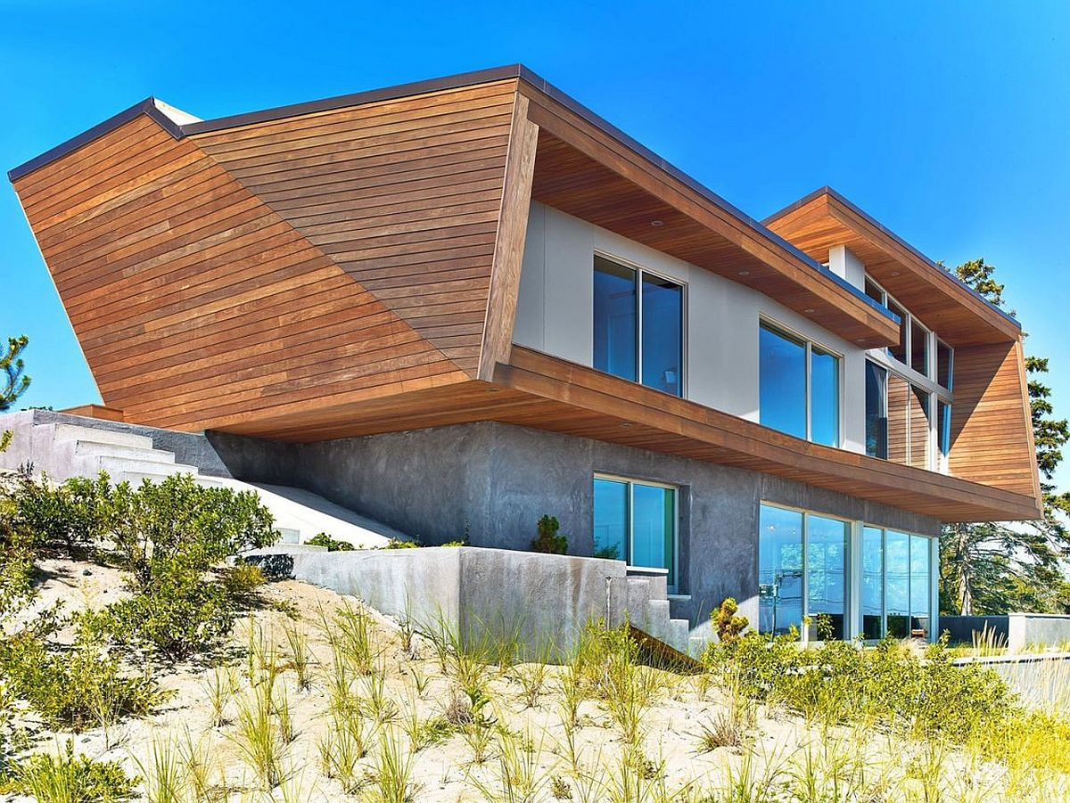 Solid concrete base and wooden top section of beach house in Cape Cod