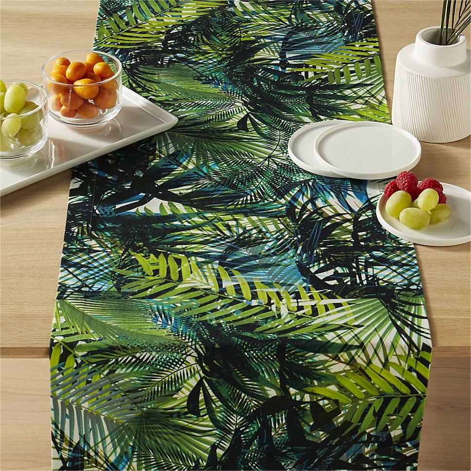 Tropical runner in shades of green