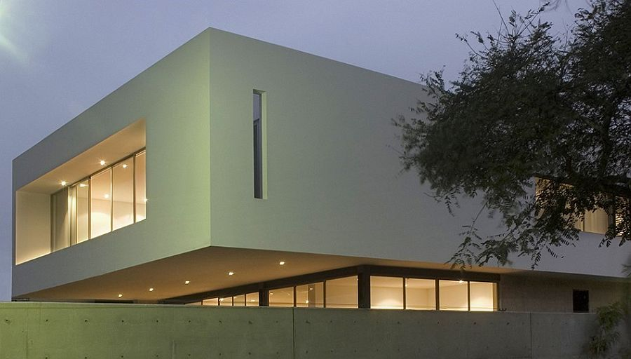 View from outside of House M showcases its minimal, contemporary design