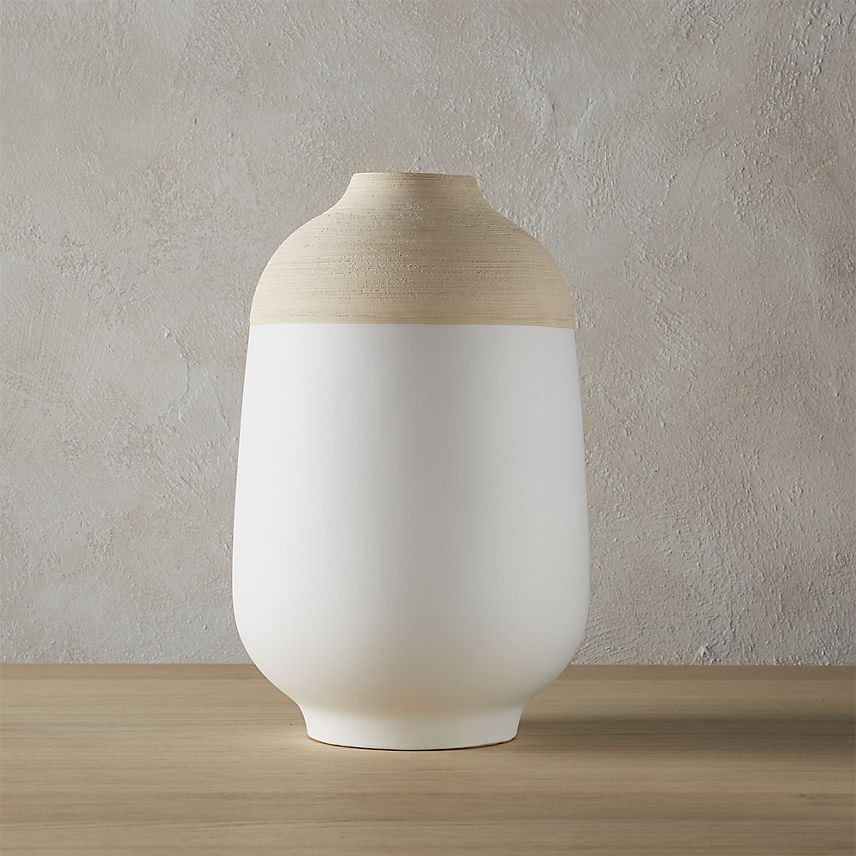 White modern vase with two-toned style