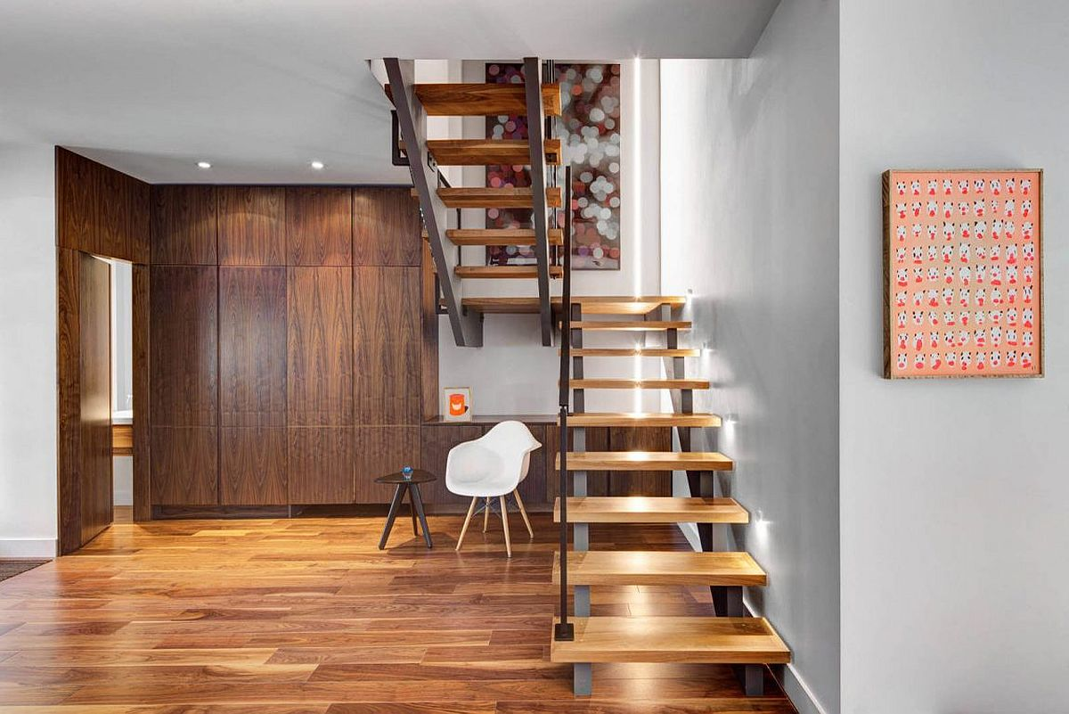 Wooden flooring adds warmth to the interior