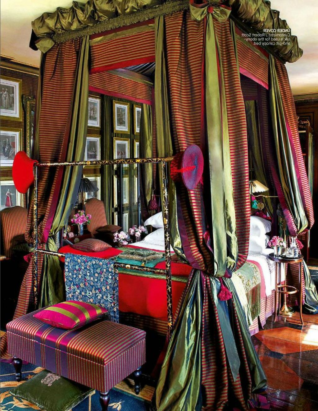 A colorful explosion within a four poster bed