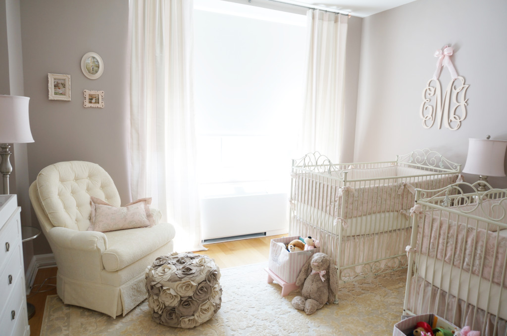 A dreamy nursery with vintage elements and calming color palette