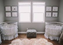A-lovely-gray-nursery-with-round-cribs-217x155