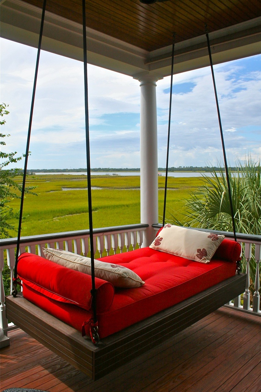 A modern and vibrant porch swing that radiates luxury