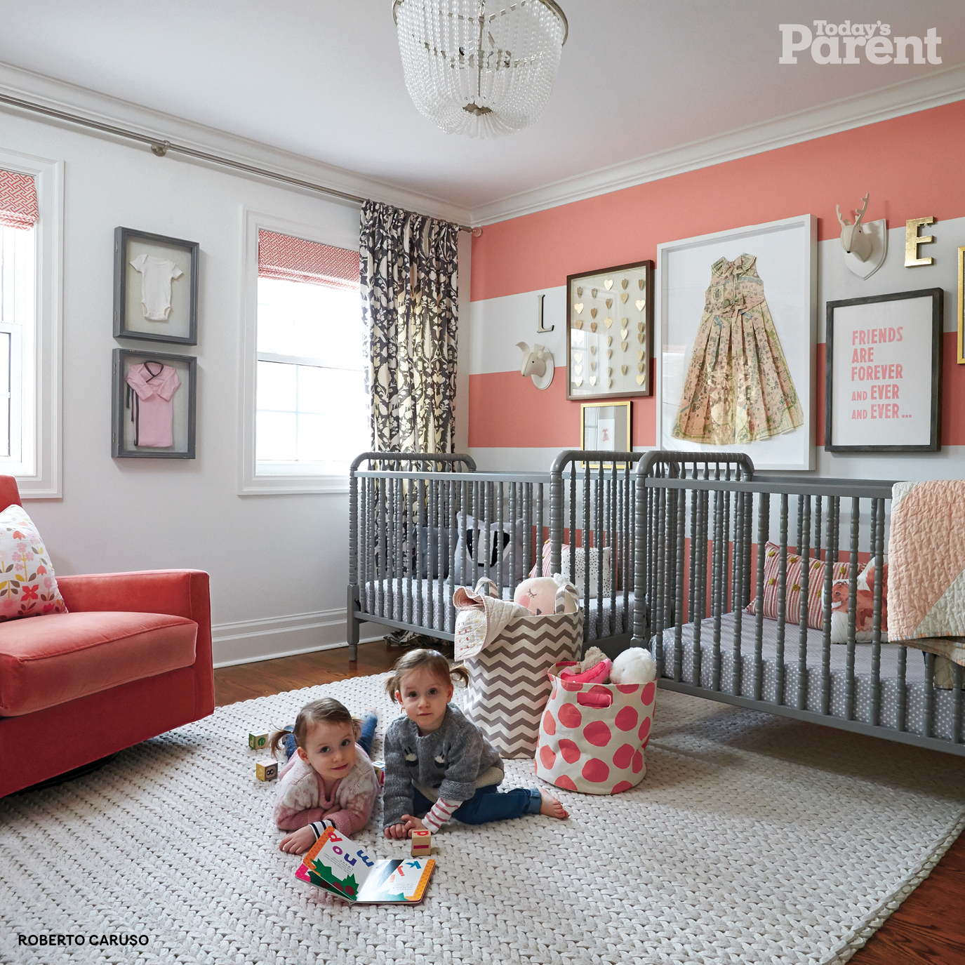 A nursery that is the perfect mix of neutral and hued