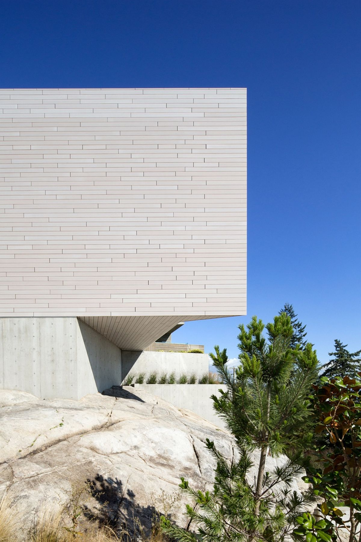 Board-formed concrete exterior of the contemporary Canadian home