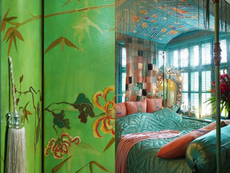 Bohemian four poster bed with an explosion of pastel colors