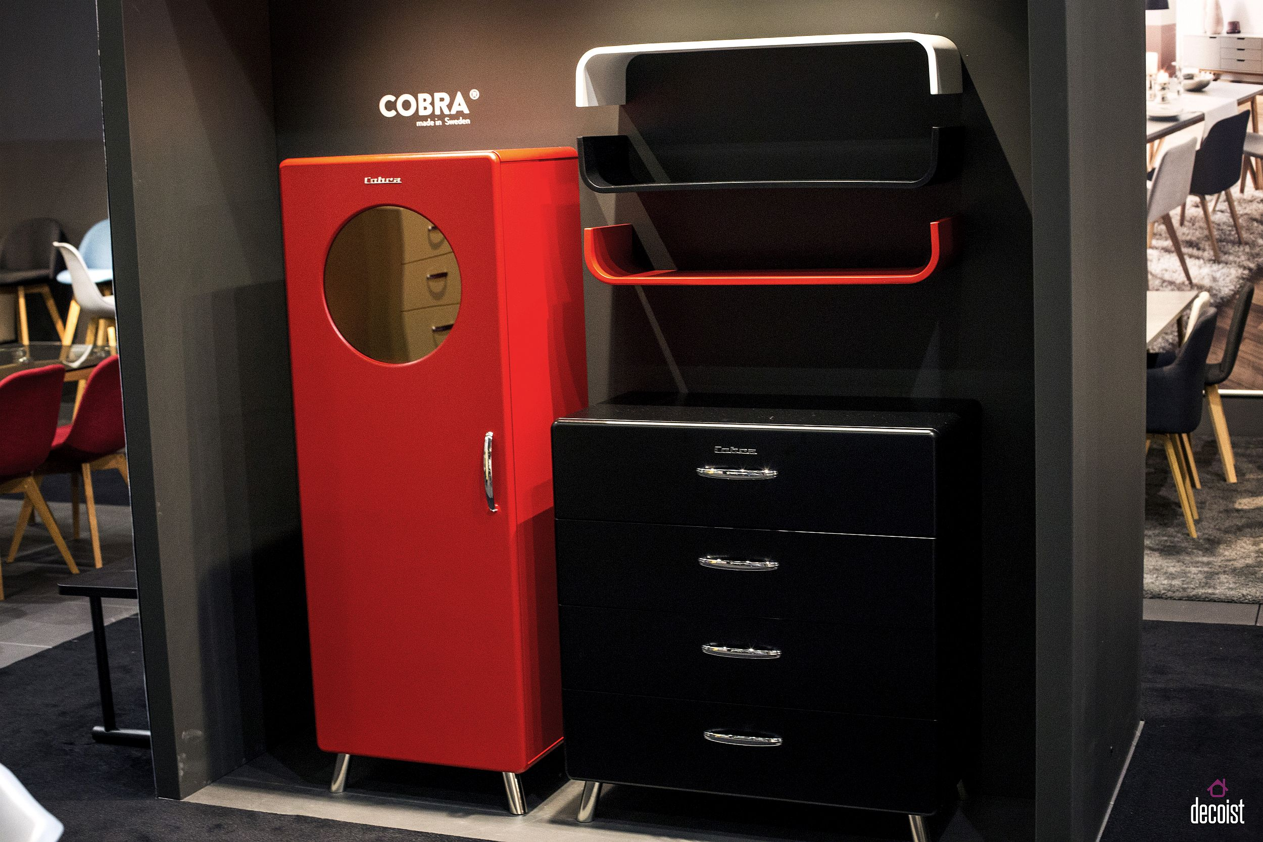 Bright and bold storage units for the modern teen room in black and red
