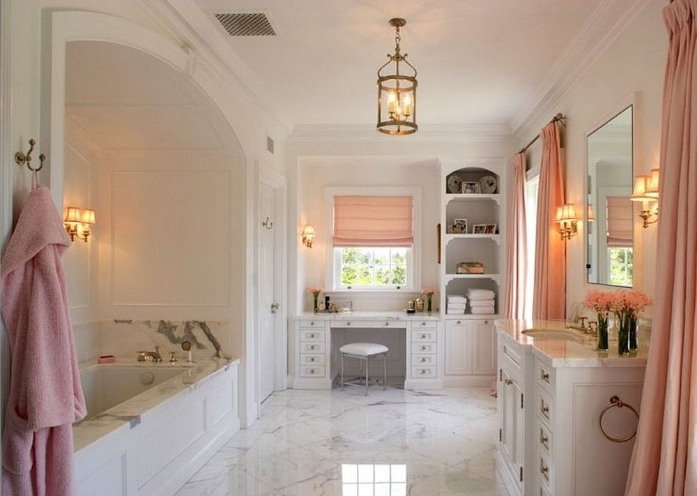 Chic bathroom in pink and white exudes feminine charm