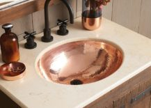 Classic-Hammered-Copper-Bathroom-sink-at-its-shiny-best-217x155