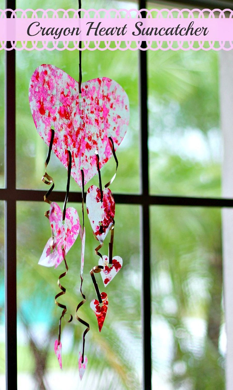 Colorful DIY Crayon Heart Suncatcher