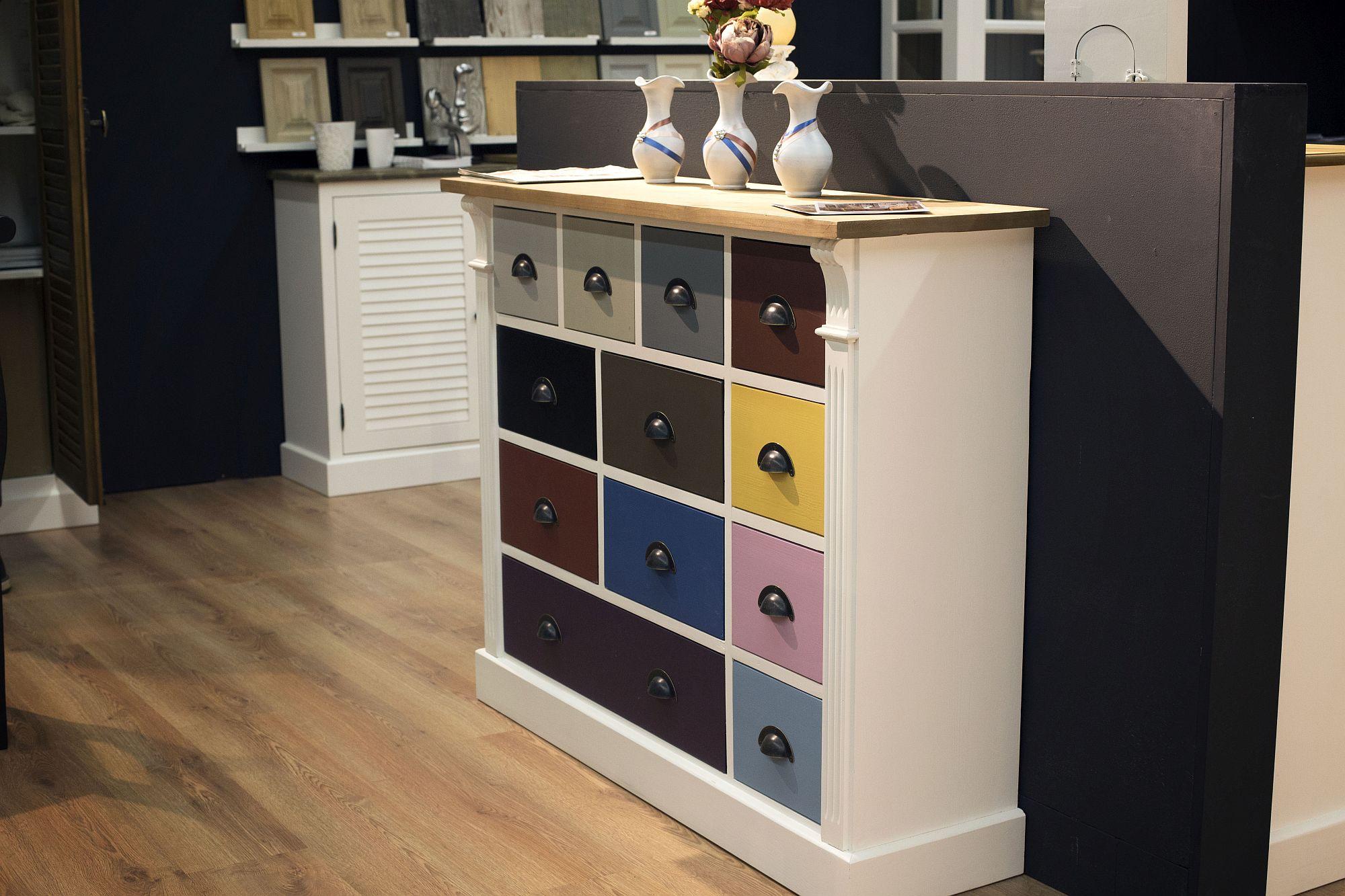 Colorful blocks bring brightness to the sleek storage unit