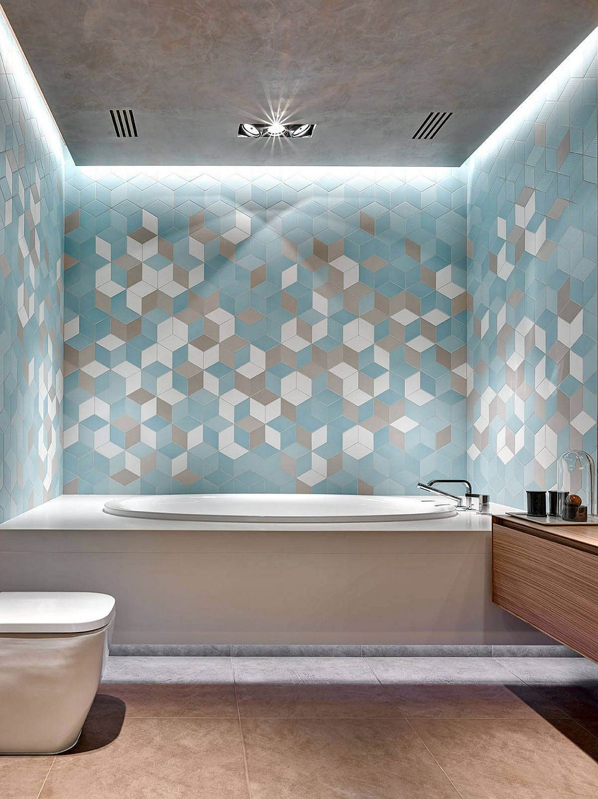 Colorful geo tiles create a fabulous backdrop in the contemporary bathroom