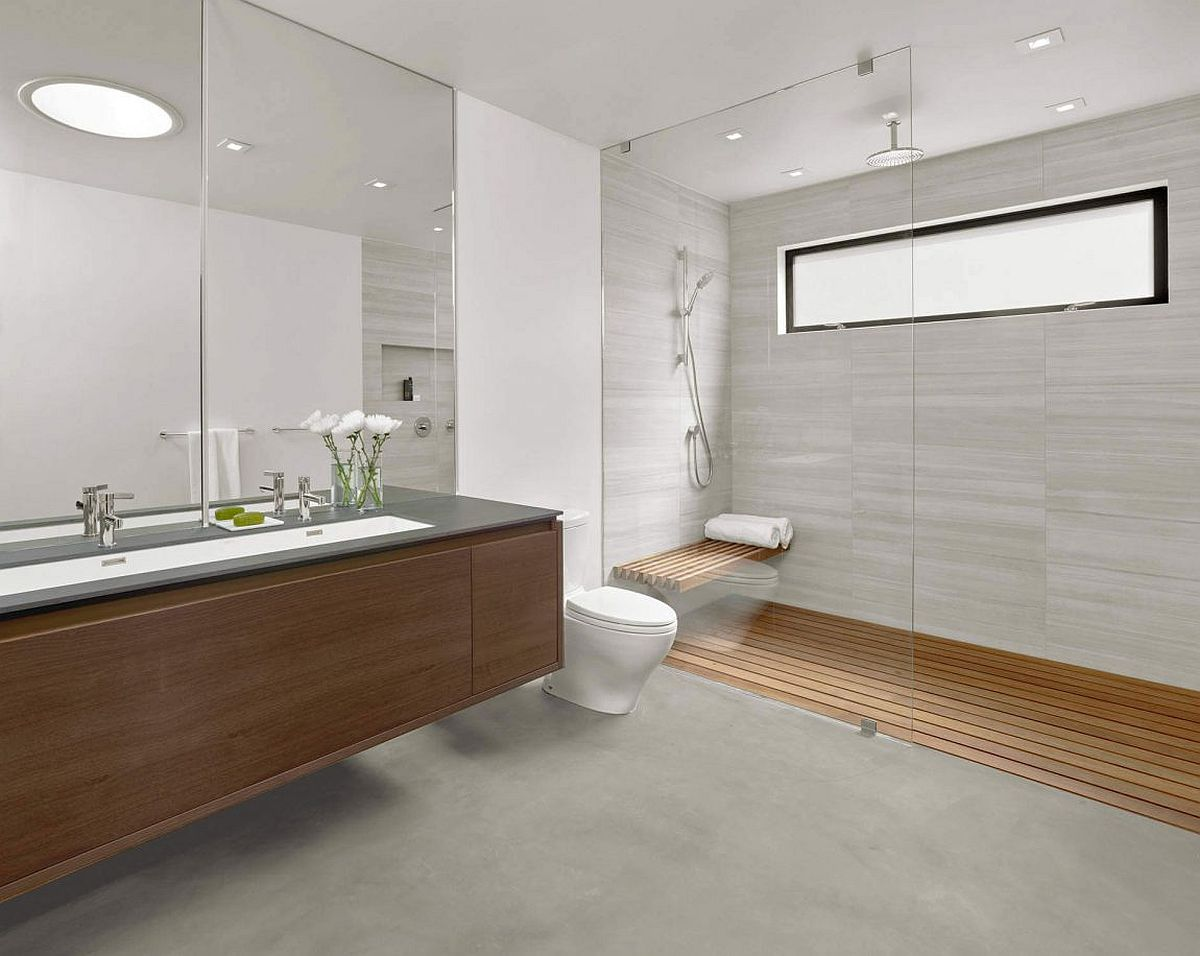Contemporary-bathroom-in-gray-and-wood
