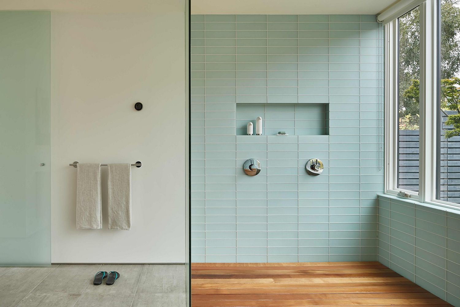 Contemporary bathroom in pastel mint and white