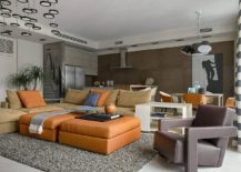 Contemporary living room of the Russian apartment with comfy leather decor and spacious vibe 217x155 Black, White and Geometric Delight: Urbane Supreme Apartment in Moscow