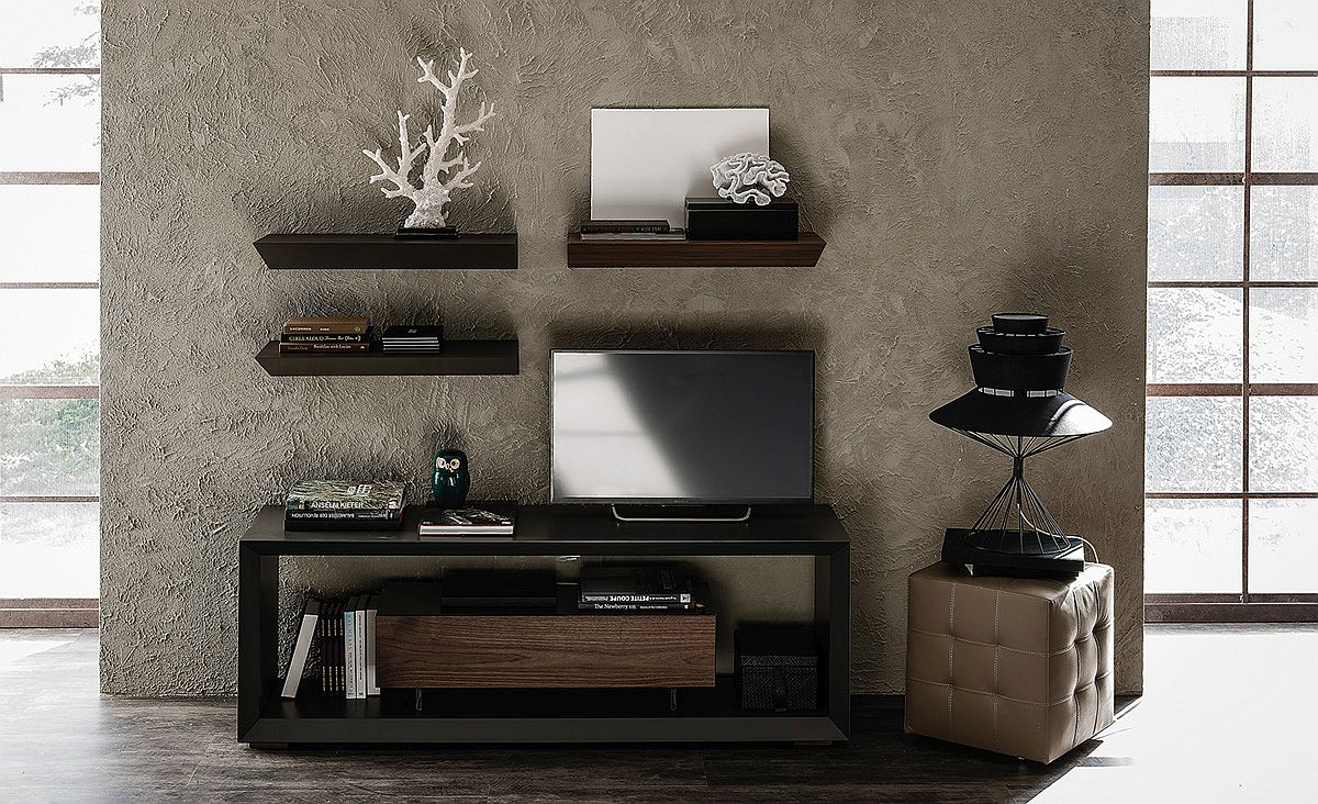 Cool contemporary Tv Unit with graphite embossed lacquered frame