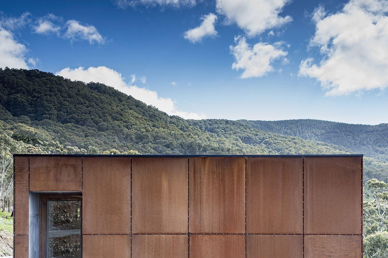 Custom Corten steel exterior of the exquisite bushland home in Victoria