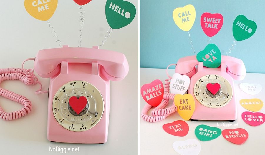 Cute pink phone with vintage vibe and heart cutouts