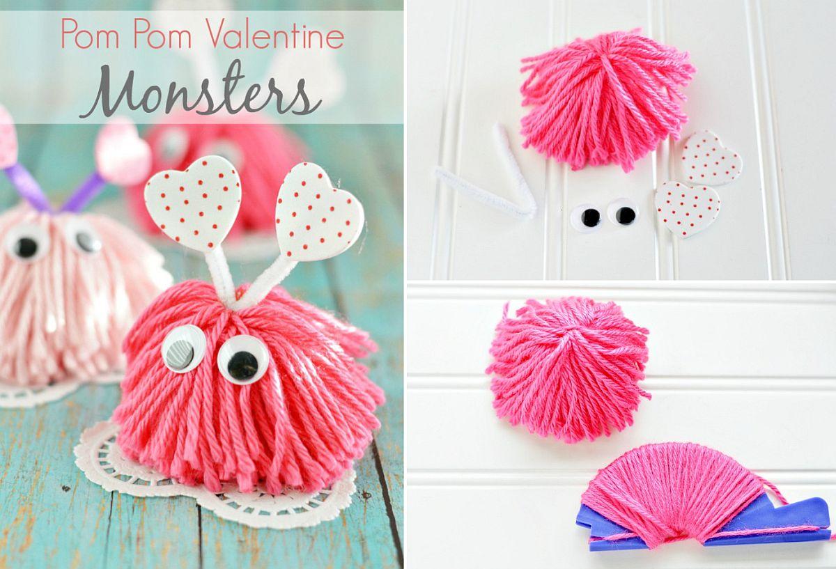 DIY Pom Pom Valentine Monsters