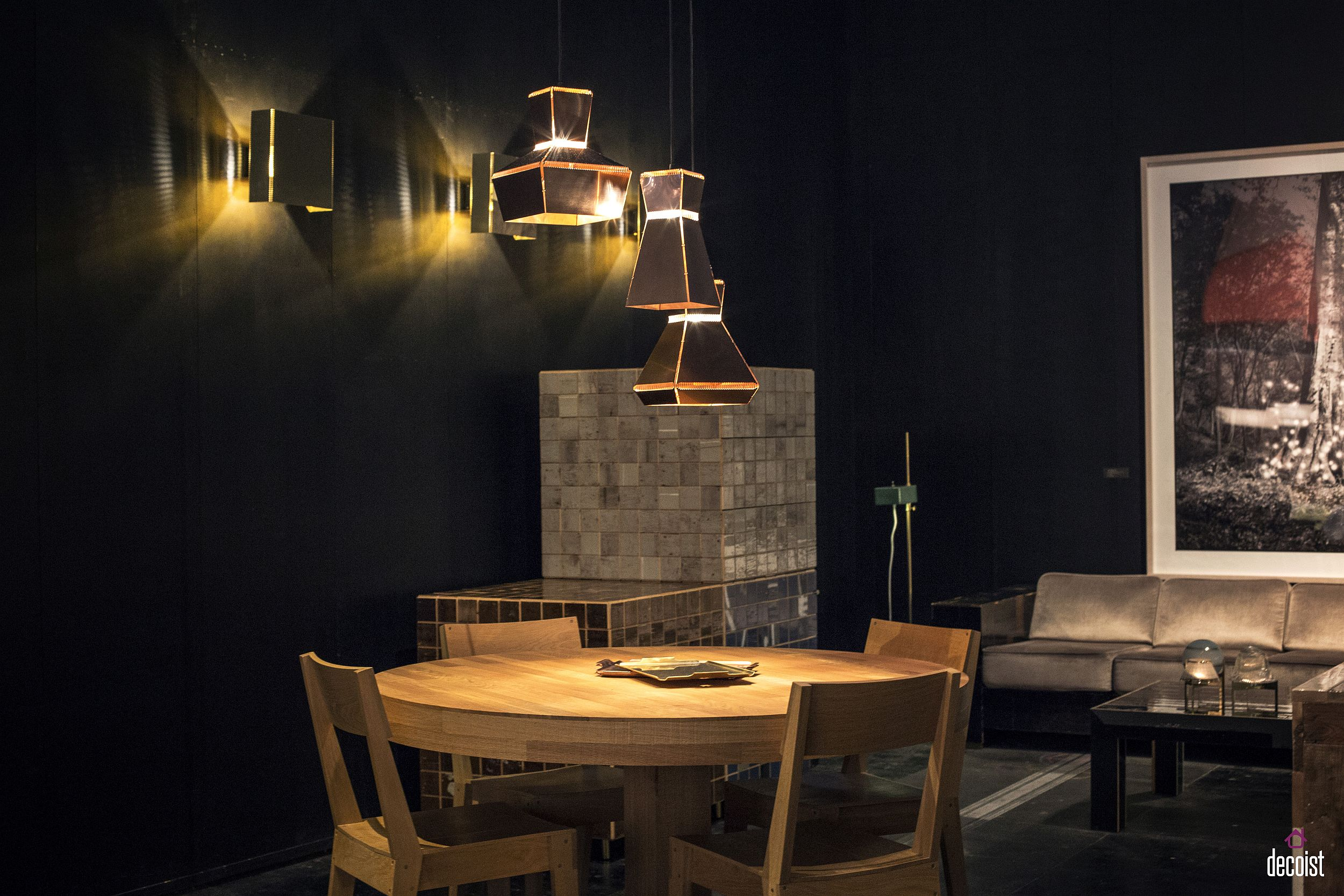 Dark and geometric pendants with golden glint from Piet Hein Eek