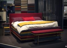 Dashing contemporary bed with multi colored charm and a splash of red 217x155 30 Beds and Headboards that Bring Color to the Bedroom