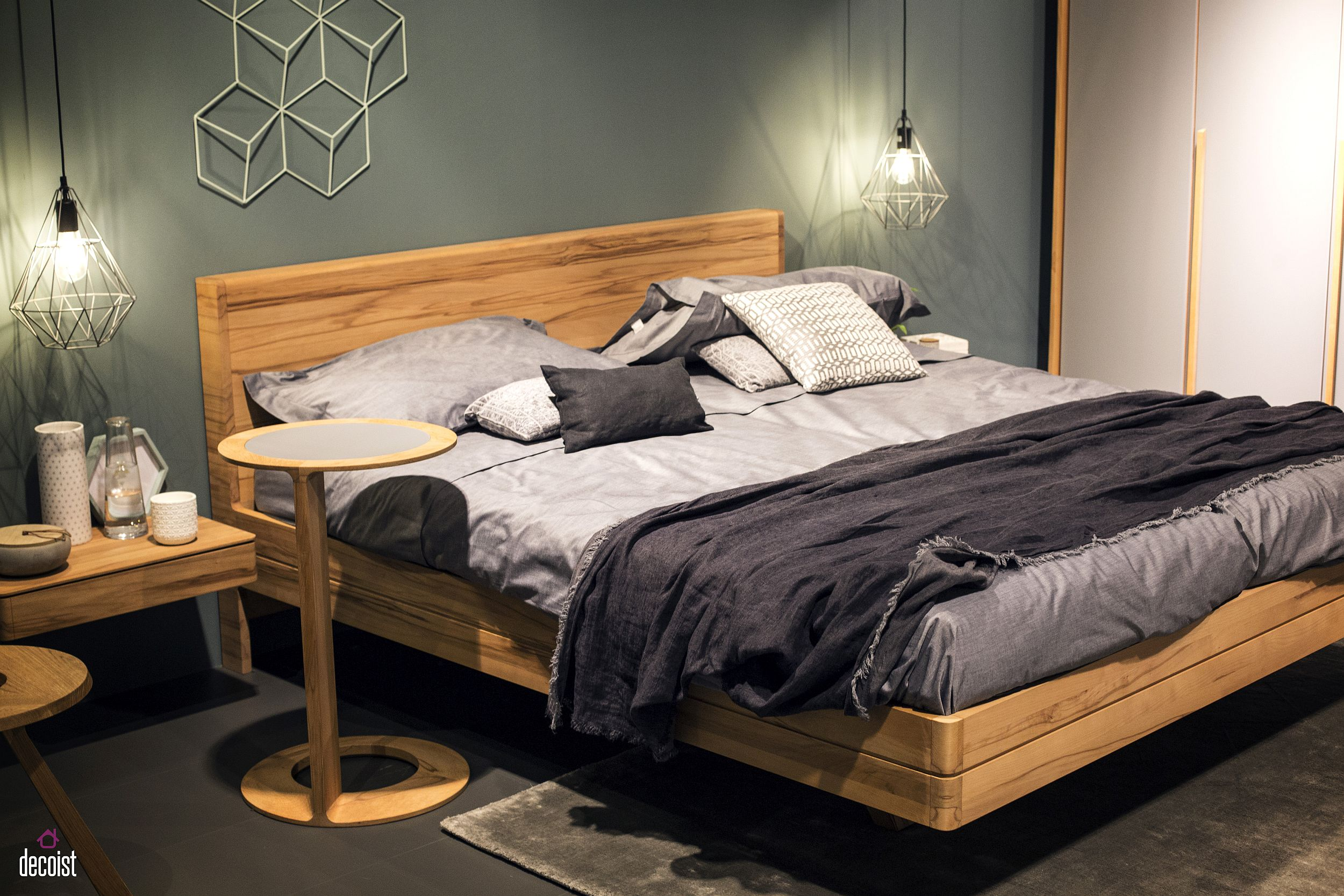 Dashing contemporary bedroom with geo style bedside pendants