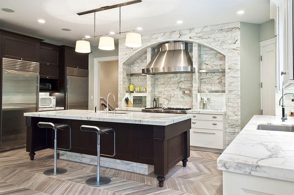 Dashing contemporary kitchen in white with dark island and Calacatta Marble sheen