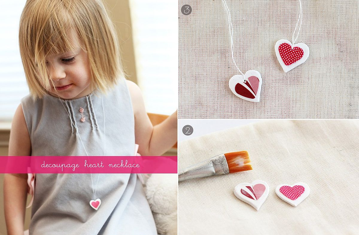 Easy to craft and ultra cute Decoupage Heart Necklace is a perfect Valentines Day gift 25 Easy and Fun DIY Valentine's Day Crafts for Everyone