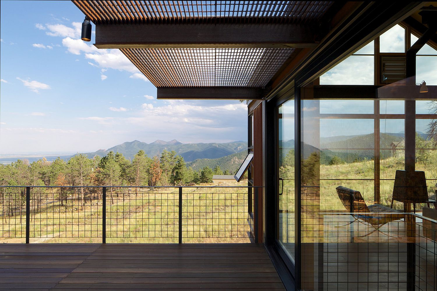 Expansive views of boulder from the deck of the Sunshine Canyon house