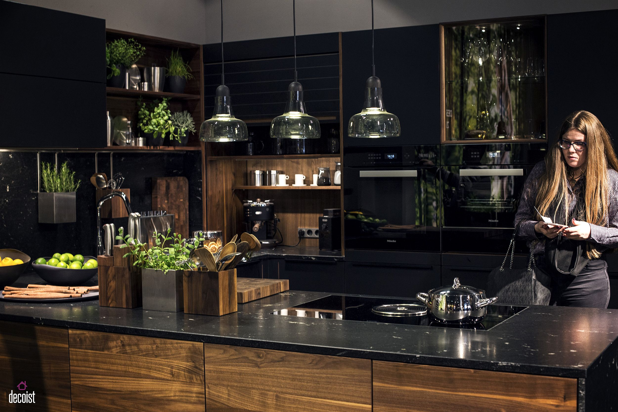 Extensive series of kitchen shelves make great use of the ample wall space