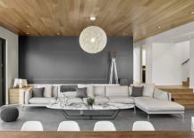 Fabulous Moooi Random light and eliptical coffee table in marble for the living room 217x155 Midcentury with a Modern Zest: Dashing Oakland Residence in California