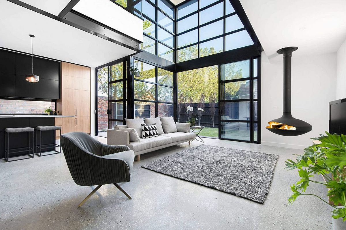 Fabulous contemporary fireplace sits at the heart of the living room Contemporary with a Dash of Textural Spunk: Northcote in Melbourne