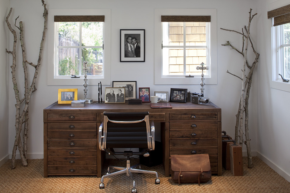 Farmhouse office decorated with simple tree branches