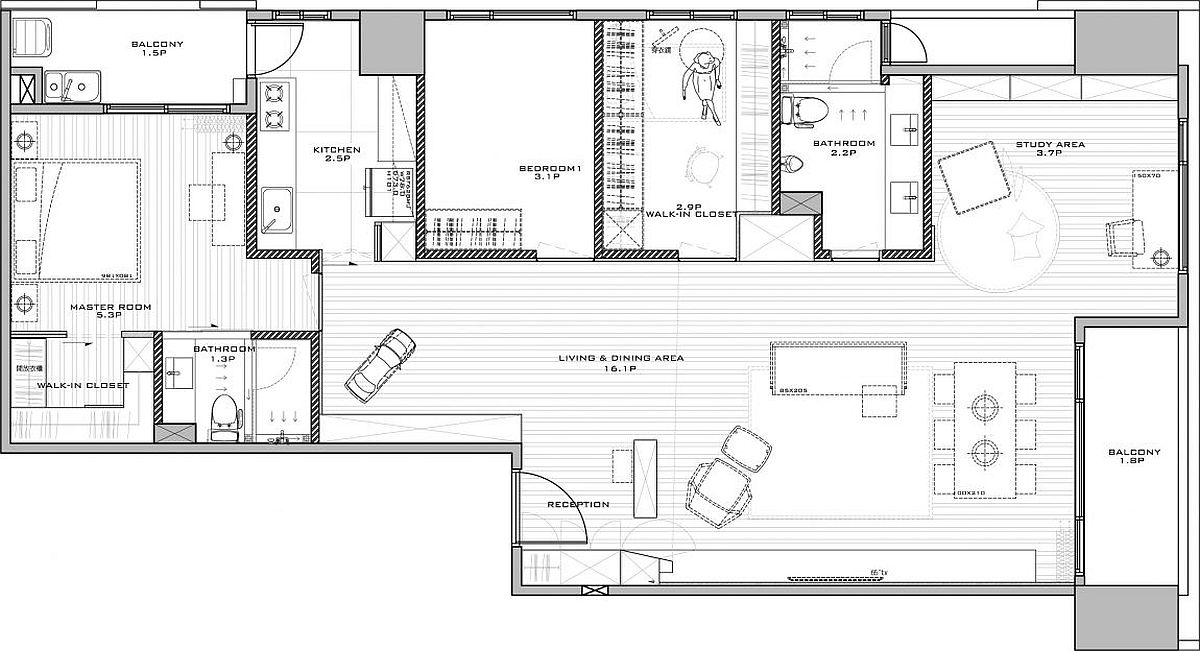 Floor plan of innovative and modern home in Taiwan