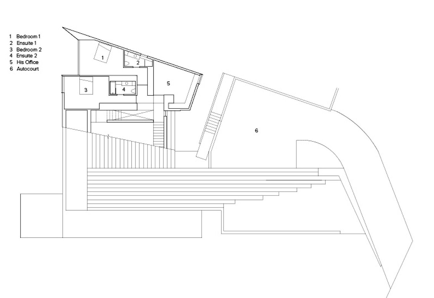 Floor plan of the lower level of Sunset House
