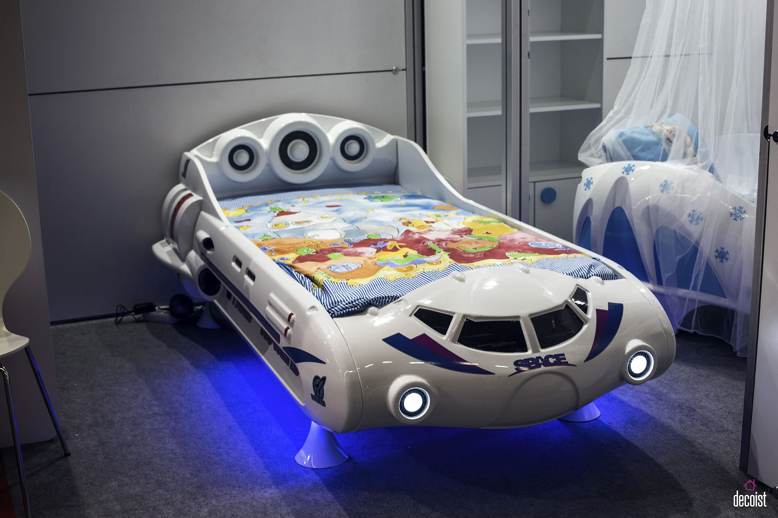 Fun Space Car Bed design with built in lighting and super cool bedding for you little one 55 Gorgeous Kids' Bedroom Finds That Amaze and Delight