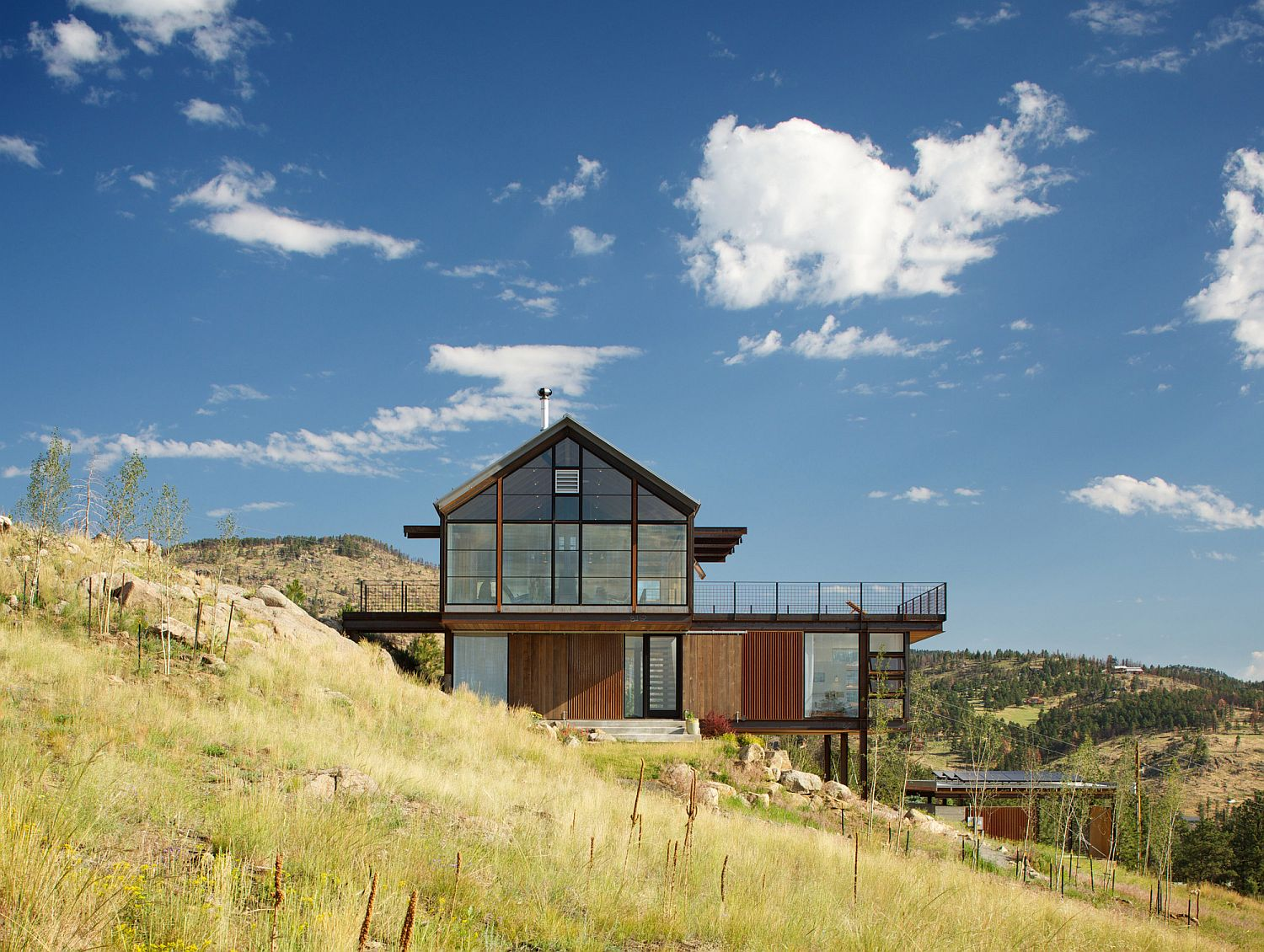 Gabled form of the top level gives the Boulder home its unique look