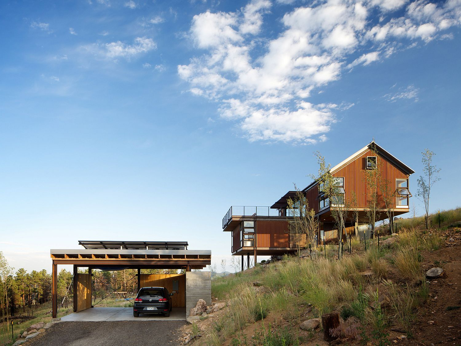 Garage and entry of the mountain home with fabulous views of surrounding landscape