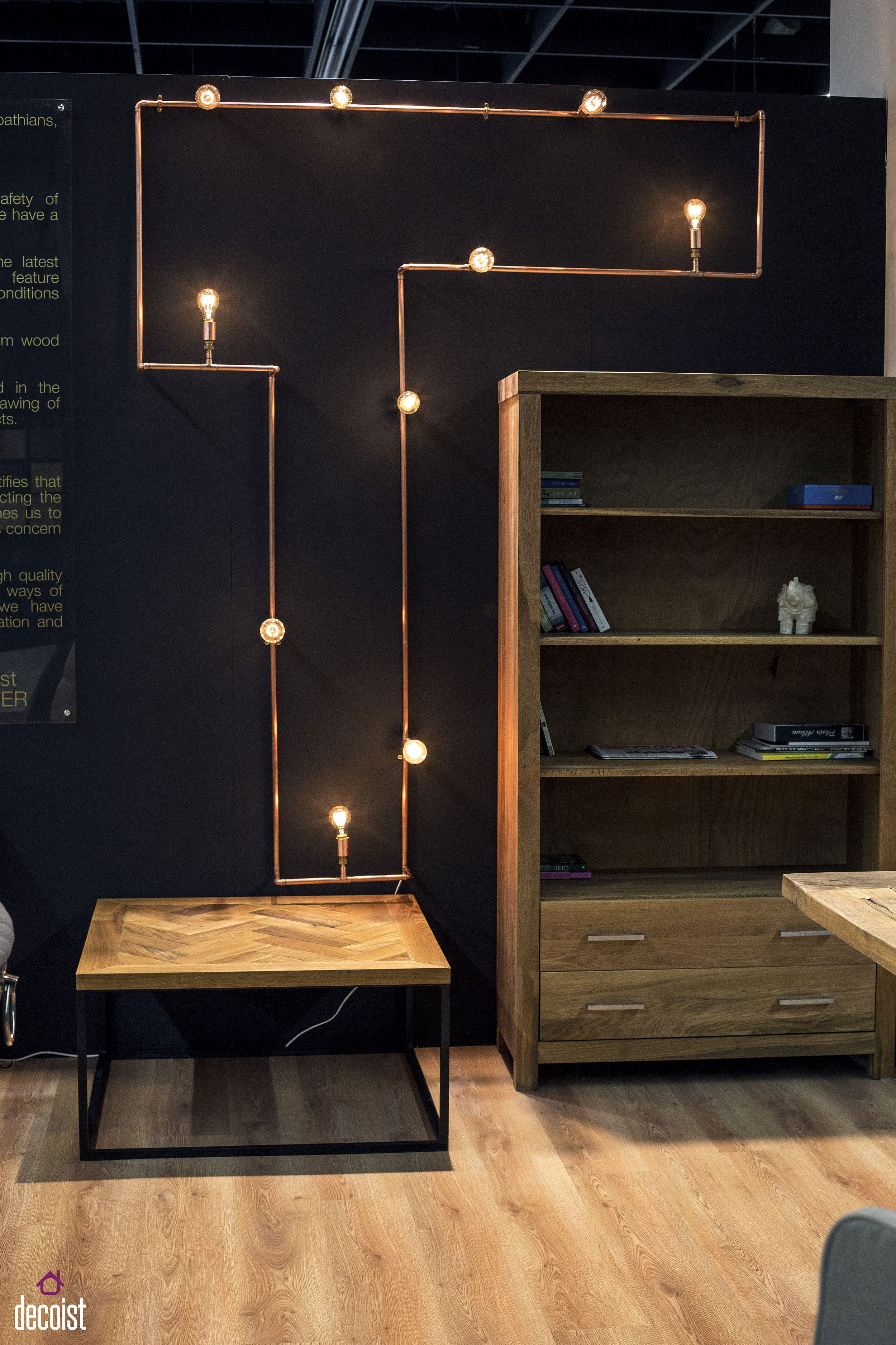Get innovative with yiour lighting fixtures using copper pipes and Edison bulbs!
